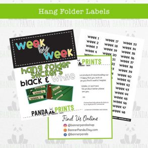 Hang Folder Labels – Black & White
