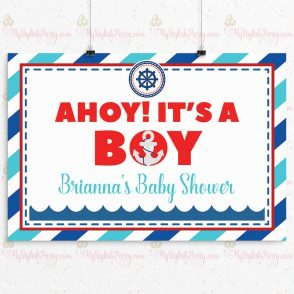 Ahoy Its A Boy Baby Shower Backdrop