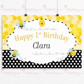 Bee Birthday Backdrop