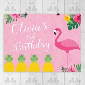 Flamingo Birthday Backdrop