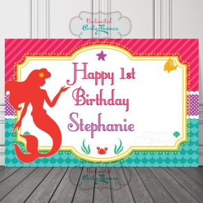 Little Mermaid Birthday Backdrop