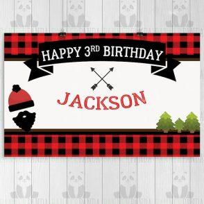 Lumberjack Birthday Backdrop