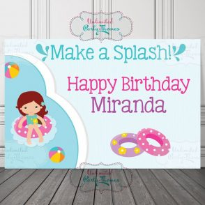 Pool Party Birthday Backdrop
