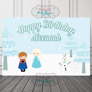 Snow Queen Birthday Backdrop