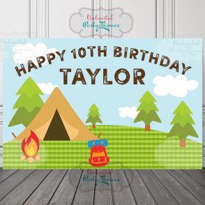 Camping Birthday Backdrop