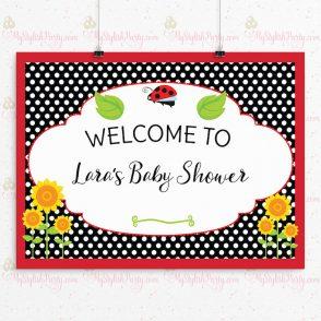 Ladybug Baby Shower Backdrop