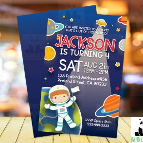 Outer space birthday invitation