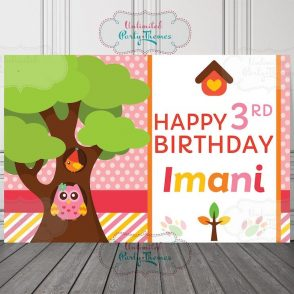 Owl Birthday Backdrop