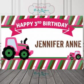 Pink Tractor Birthday Backdrop
