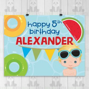 Pool Party Birthday Party Sign