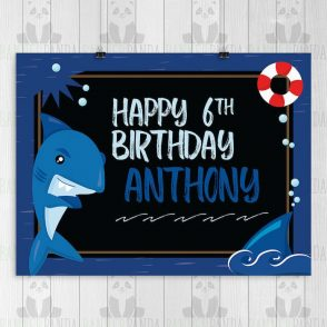 Shark Birthday Backdrop