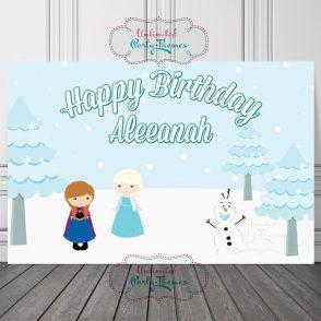 Snow Queen Birthday Backdrop