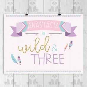 Wild and Three Birthday Sign